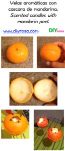 Velas con cascara de mandarina