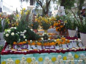 Flores decoración en una tumba Mixquic