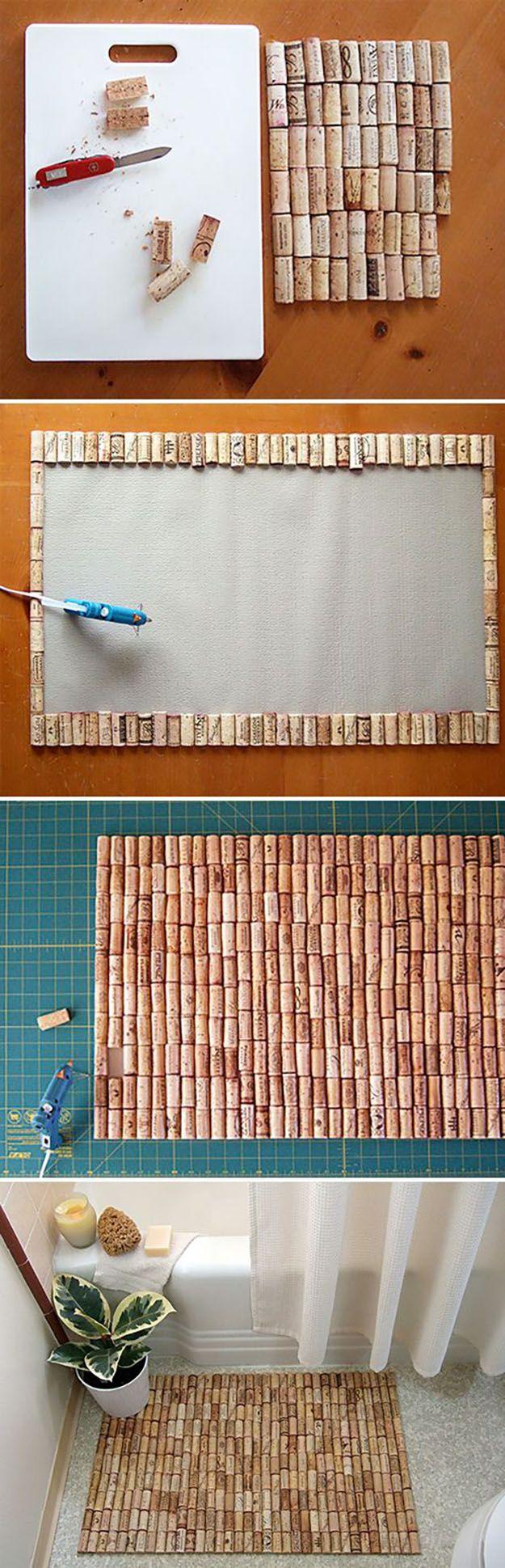 tapete hecho de corchos de vino