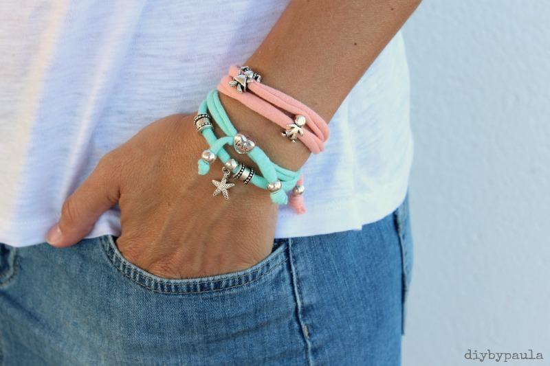pulsera trapillo color durazno y turquesa