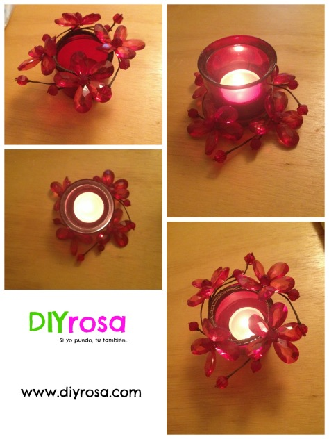 Decoración de flores de cristal para velas