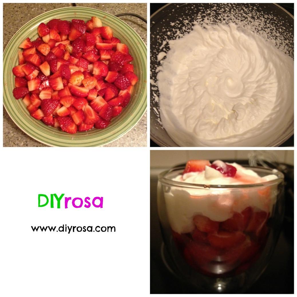 fresas con nata montada en un vaso de cristal