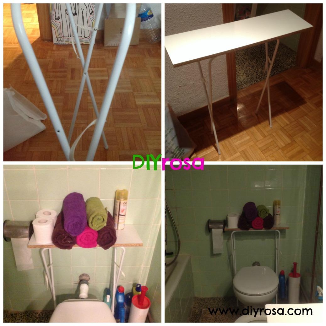 mueble de baño hecho con una tabla de madera y estructura de metal